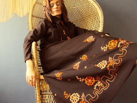 Vintage 70s Boho Maxi Dress Winter Woodstock Ascot Dress Hippy Festival Chocolate Plus Size Vintage XL