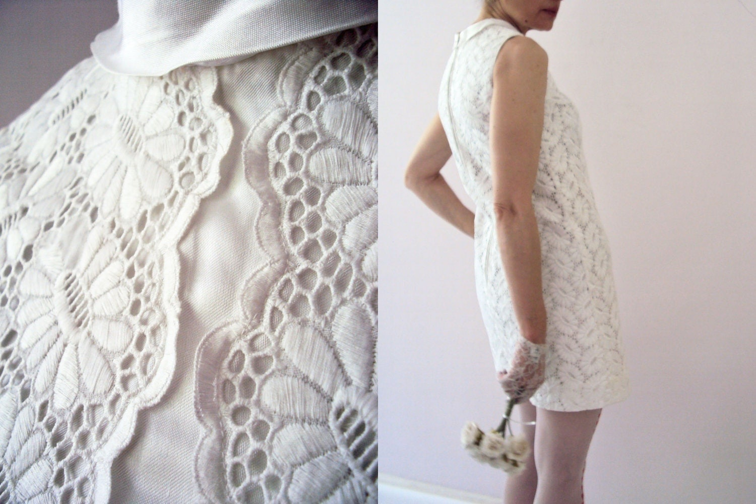 Vintage 70s Hippie Prairie Girl Wedding Dress Gown S M: Vintage 60s White Cotton Lace Mod Short Wedding Dress Mini
