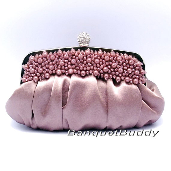 SALE-Dark pink satin beaded clutch (with matching short and long movable metal chain)