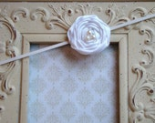 Dainty Christening/Baptism Headband- White Satin Handmade Rosette with Pearl Accents