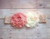 Vintage Peach and ivory flower headband, lace, photo prop- newborn headband, baby headband, toddler headband, child headband
