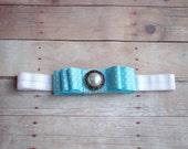 Blue and white vintage bow headband- polka dot,tiffany blue, baby headband, toddler headband, child headband- photo prop