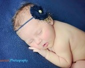 Navy blue and yellow vintage flower headband-baby headband, toddler headband, childrens headband, adult headband-photo prop
