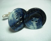 marbled blue button silver plated cufflinks