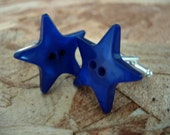 blue star button silver plated cufflinks