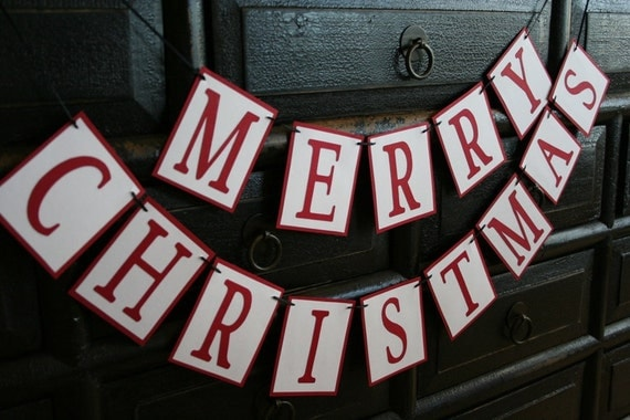 Merry Christmas Mini Banner - Red and White