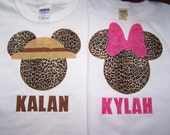 Cheetah Mouse Head Appliqued Tees with NAME underneath