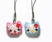 Swarovski crystal Fantasy kitty face doll with bow, phone charm,keychain,zipper pull and other decorations(individual sell)