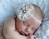 """SALE---Ivory Lace Vintage Inspired headband for child, newborn, adult, wedding, bridal, photo prop - """"Pearl"""""""