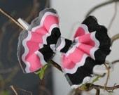 "SALE---pink, black, gray chevron print cotton bow tie headband for newborn, child, adult, ""chevron"""
