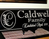 Personalized Wedding Family Name Sign  Established Date  Monogramed Name Sign 7.5 x 22 Carved Engraved Wall Sign wedding or anniversary gift