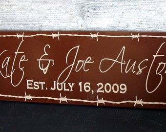 Family Established Sign  Personalized Last Name Sign Western Look  Carved Last Name Sign Plaque Wedding