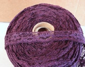 "3 Yard Corded Lace Trim In Plum Color 1"" Wide."