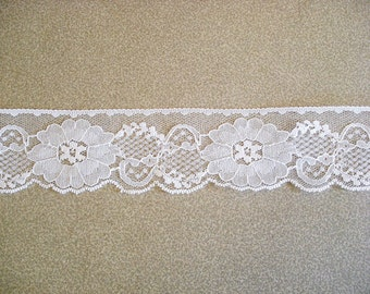 "Poly Lace Trim White Color Scalloped 2 1/2"" Wide."
