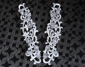 Venice type lace appliqués pair in white color.