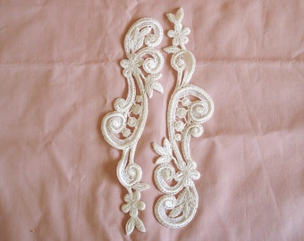 Venice type lace appliqués in light cream or off white color 2 Pieces Of The Same Side.