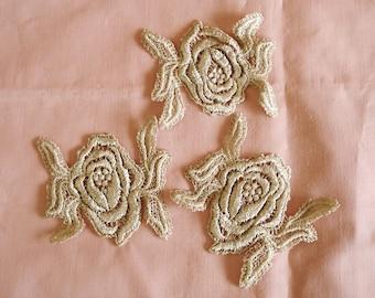 Venice Lace Embroidery Appliqués in Tan Color.