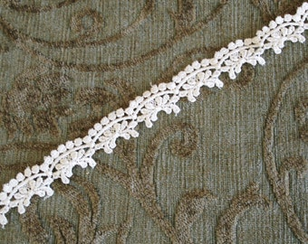 Venice Lace Embroidery Trim 3/4 Inches Wide In Off White Color.