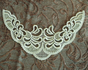 Sequined Venice Lace Embroidery Appliqués In Pastel Green Color.