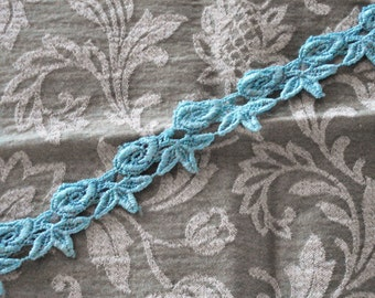 """Venice Lace Embroidery Trim In Turquoise Color 1 1/4"""" Wide."""