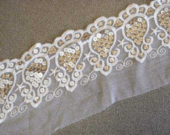 White VENICE LACE Embroidery With Metallic Silver Sequins on Mesh Fabric 3 1/2 Wide.
