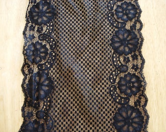 "Lace Trim Fabric Black Color 9"" Wide."