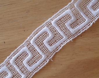 "Venice Lace Embroidery Trim In White Color 1"" Wide."