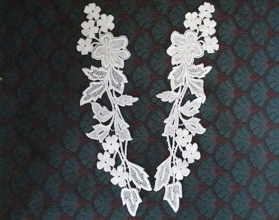 Venice type lace appliqués pair in white color.