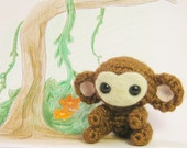 Crochet Monkey Amigurumi Doll Brown