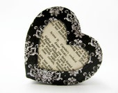 "Shakespeare ""Romeo and Juliet"" Heart-shaped Box - Black and White Damask - Decorative Box - Trinket Box - Size Small - Unique Literary Gift"