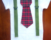 Christmas Holiday Red Plaid Boys Neck Tie Bodysuit Onesie with Suspenders