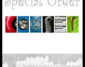 COOPER Special Order Color 4x6 inch alphabet photographs and six glass frames
