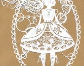 Lolita in Fawn dress paper cutting
