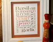 Kitchen Herbs & Spices Art Print Word Art