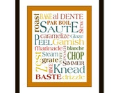 Kitchen Words, Cooking Words, Art Poster Cooking Terms Art print poster