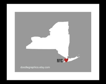 New York State Map Wall Decor - Wall Art, NY City with heart, State Silhouette