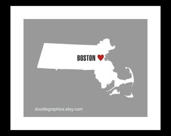 Massachusetts State with Heart on Boston or ANY city in Massachusetts
