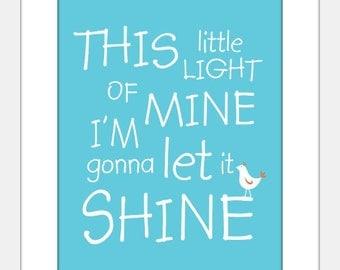 This Little Light of Mine art print poster, baby, nursery, christian song art, baby shower gift, confirmation gift