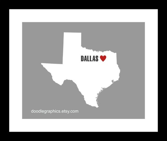 Texas State Map - Heart on Dallas or Personalize with your Hometown.