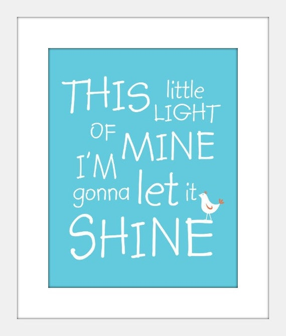 This Little Light of Mine art print poster, baby, nursery, christian song art, baby shower gift, confirmation gift
