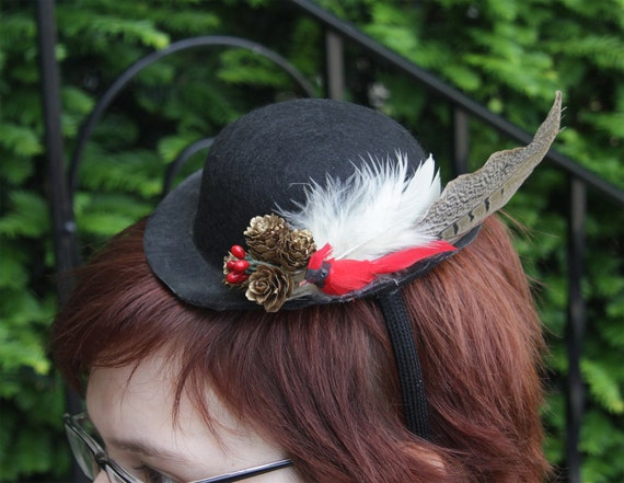 Tiny Bowler Hat with Cardinal, Pinecones and feathers