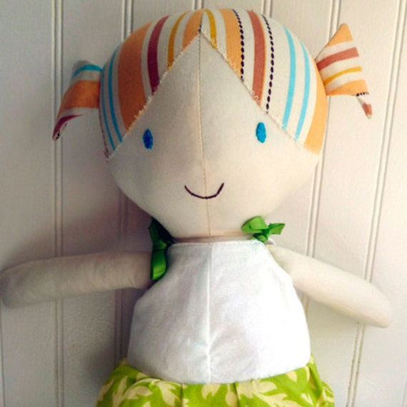 cloth doll sewing pattern, printable PDF, A4 or letter