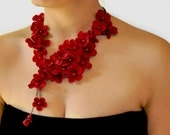 RESERVED for Anna red flower necklace pearl woman accessories jewerly burgundy flowers scarf neck accessory