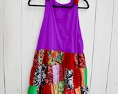 Upcycled recycled purple flower beach mini summer dress