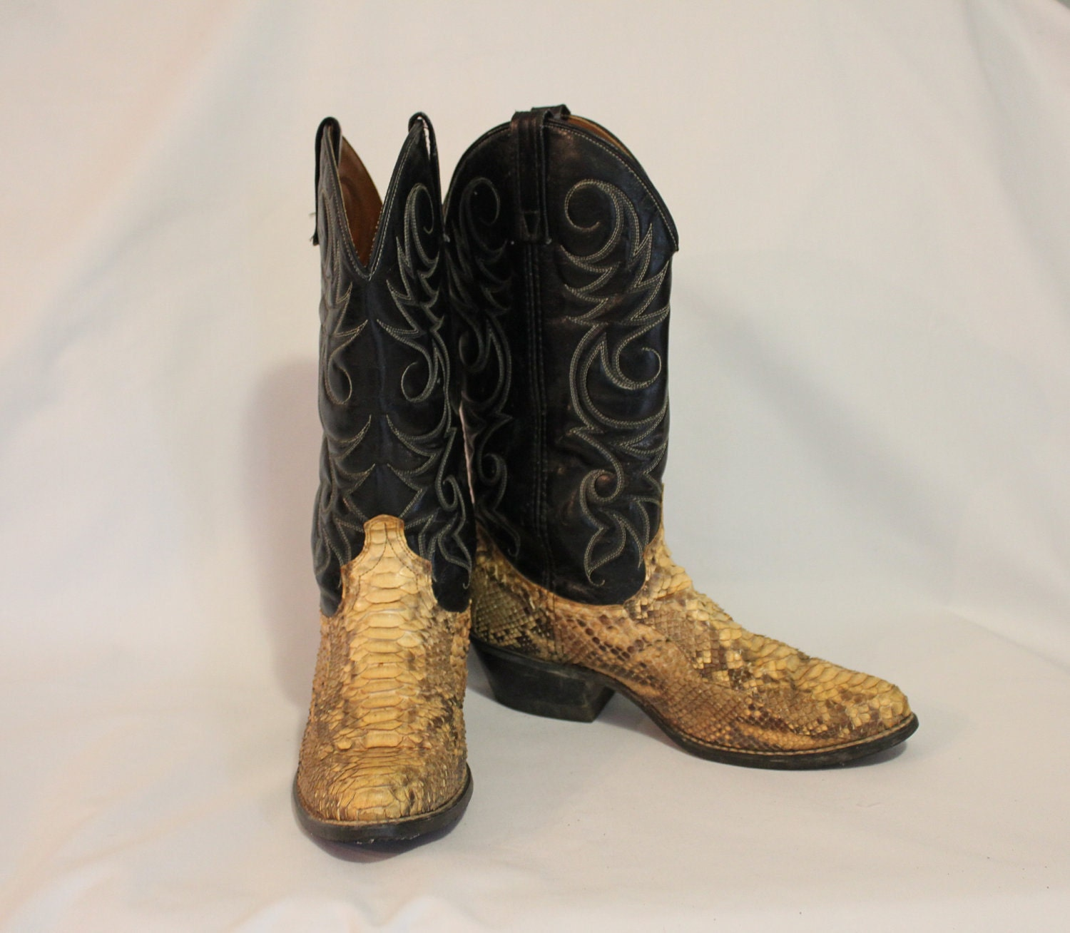 authentic snakeskin cowboy boots size 8 1 2