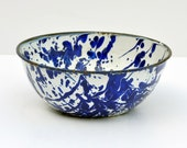 Vintage ENAMELWARE BOWL - Cobalt Blue Swirl and White