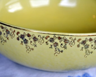 Vintage Yellow Bowl - HALL's Superior Quality - Gilded Floral Pattern