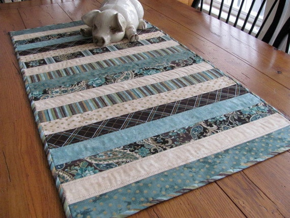 Quilted Table Runner Sea Foam Green and Beige Strip with Touches of Dark Brown and Gold Contemporary Table Topper -Spring Table Runner