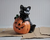 Vintage Halloween Ceramic Black Cat
