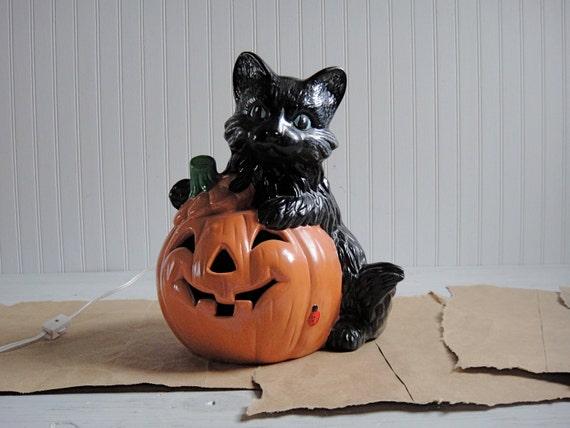 Vintage Halloween Ceramic Black Cat